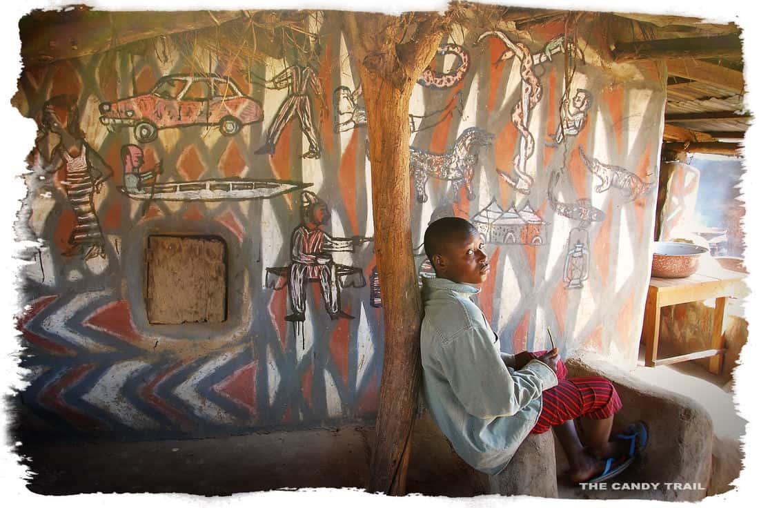 sirigu village folk art on painted houses of ghana