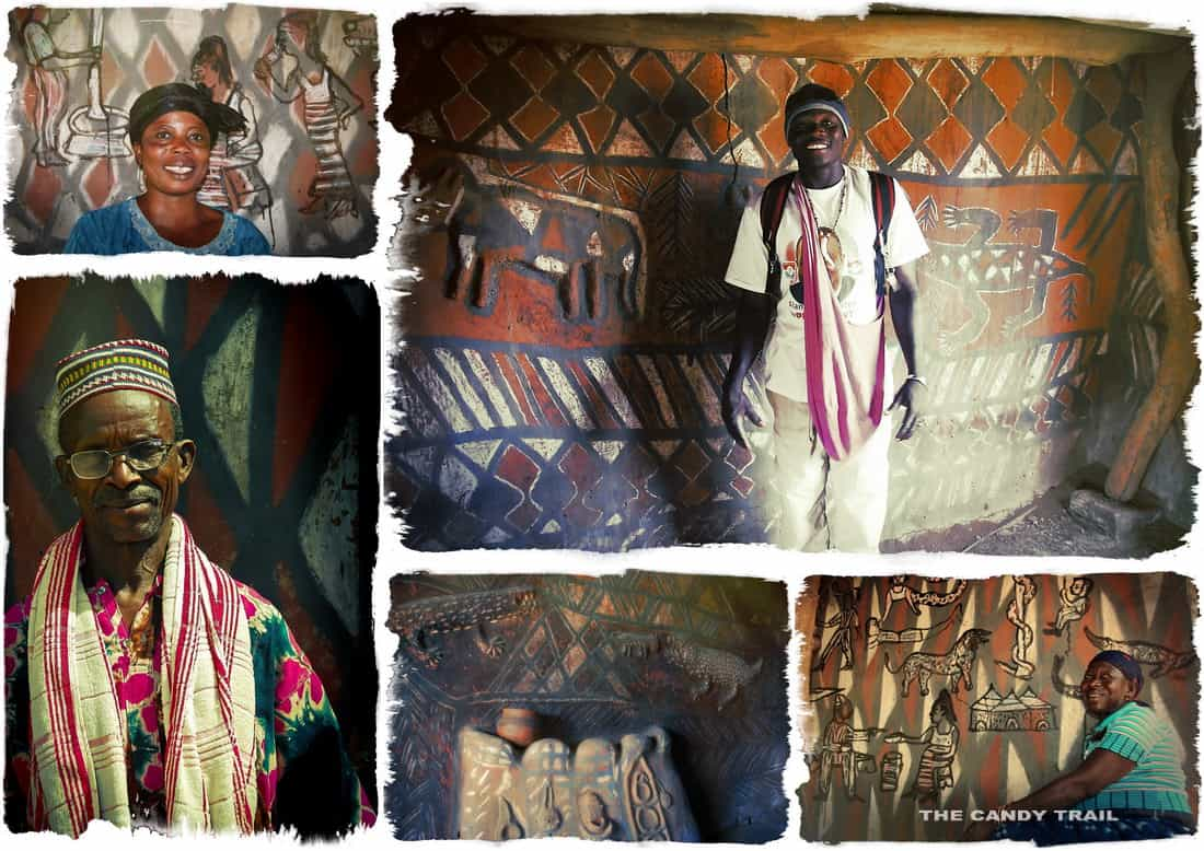 people scenes of the beautiful painted houses in ghana