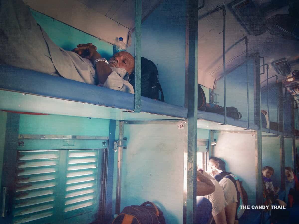 India Travel Advice. Indian sleeper train carriage.