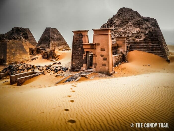 front view of meroe pyramids in sudan