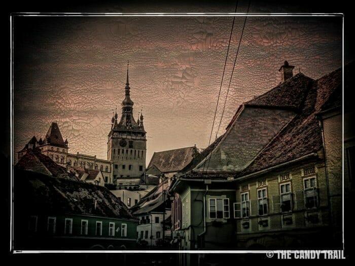 Transylvania sighisoara clock tower above town romania