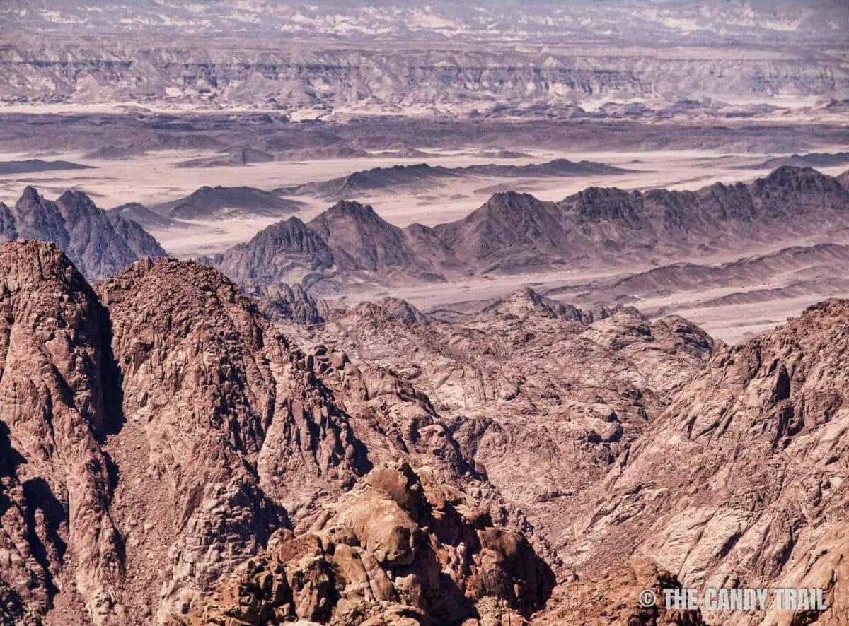 desert-mountain ranges from top of mount sinai in egypt