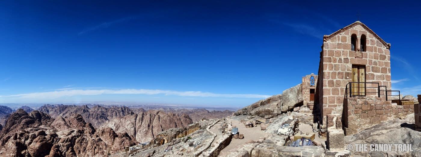 Mount Sinai Chapel and mountain vista egypt