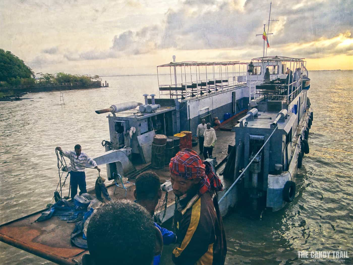 dawn ferry from gorgora for the boat trip across lake-tana in ethiopia