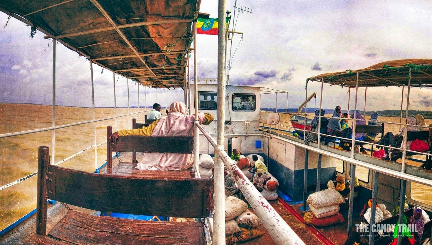 boat across lake tana ethiopia by public ferry