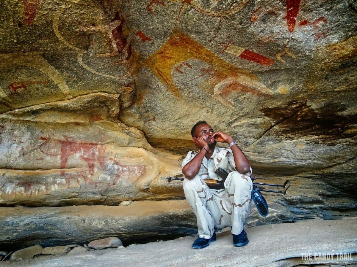 soldier escort laas geel cave paintings somaliland