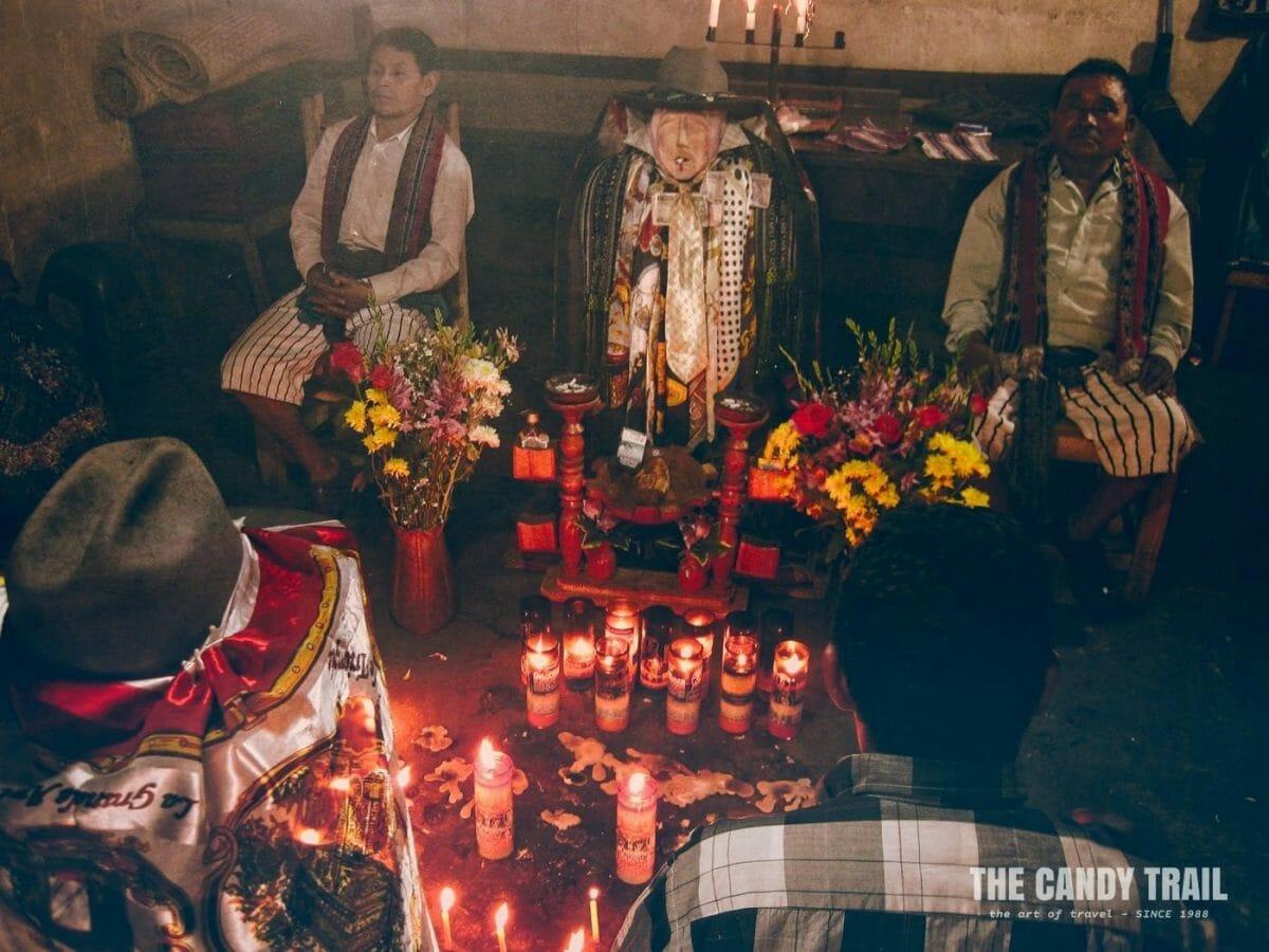 maya god maximon shrine ceremony at santiago atitlan guatemala