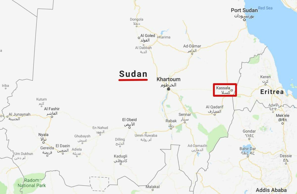 map of kassala location in sudan