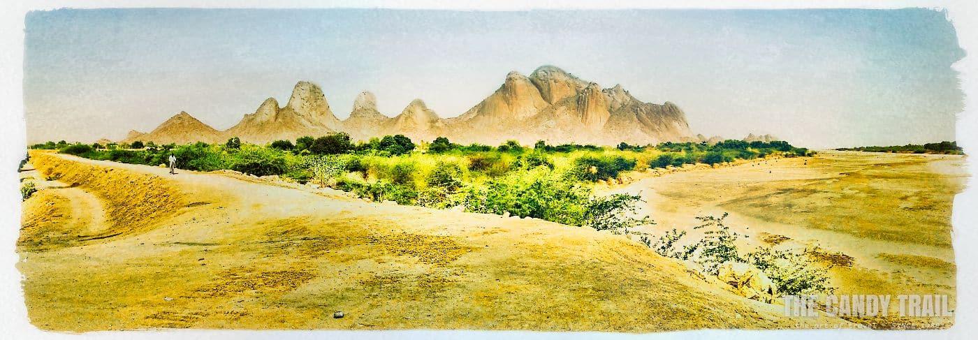 panorama of gash river and taka mountains near kassala in western sudan