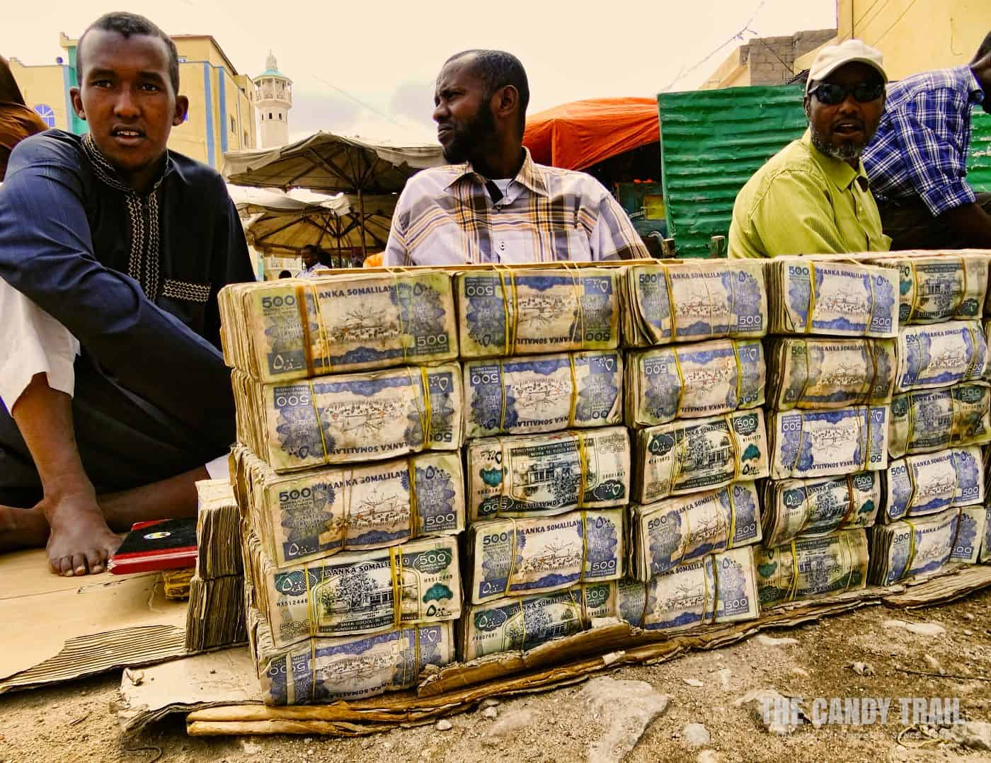 cash vendors with bundles of money in hargeisa somaliland