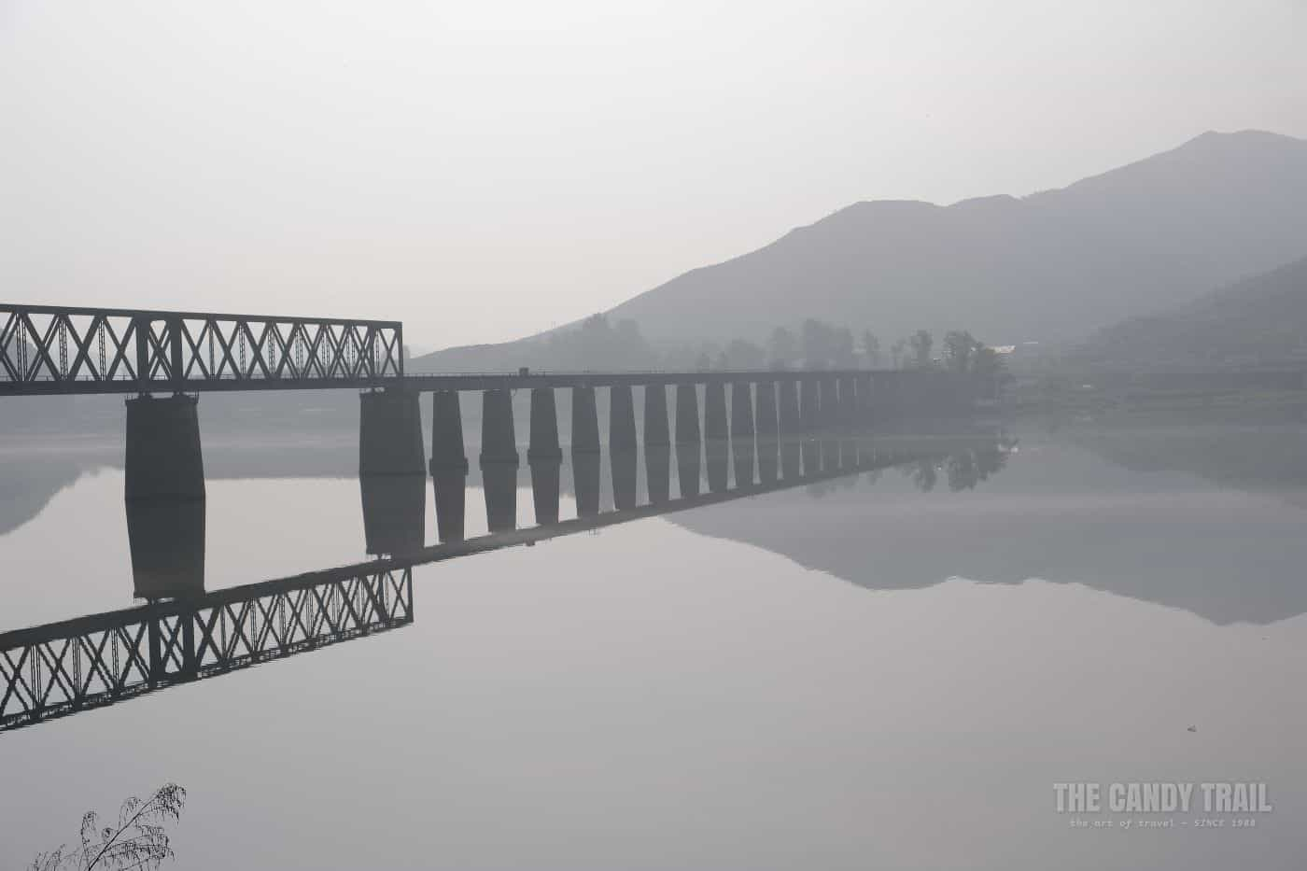 Early Morning Misty Bridge Across Yalu River To North Korea
