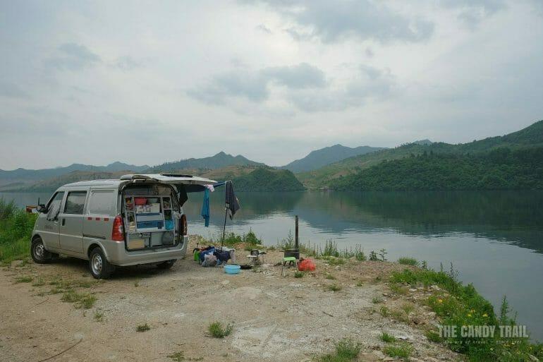 Van Camping On Island Yalu River China North Korea Border