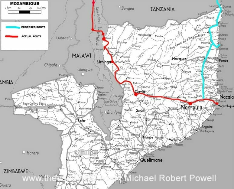 maps of travel northern Mozambique border crossing at cobue