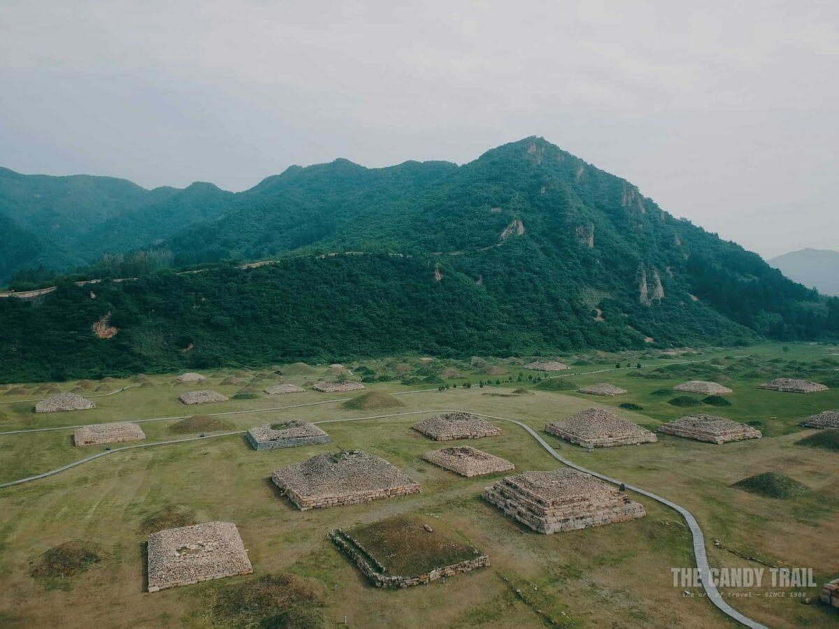 Aerial Shot Tombs Wandu Mountain City China 1