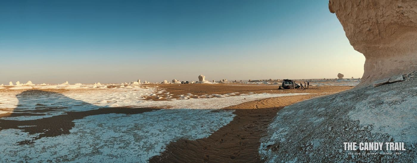 panorama of white desert tour 4WD amid formations in western egypt