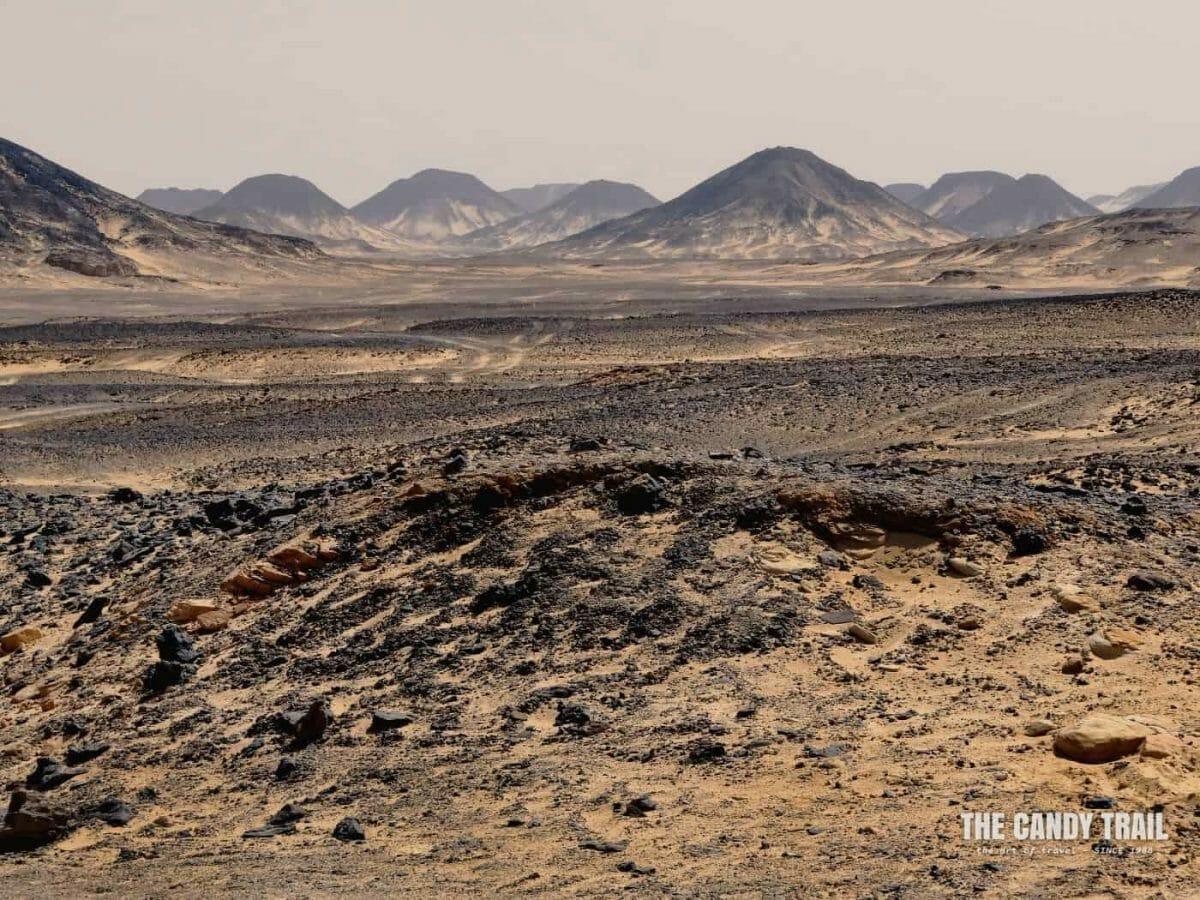 black desert rock hills in western egypt
