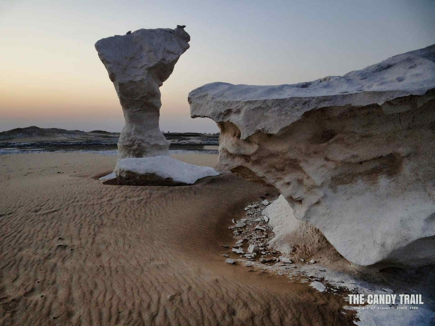 Dawn and awaiting the sunrise touring the white desert in egypt