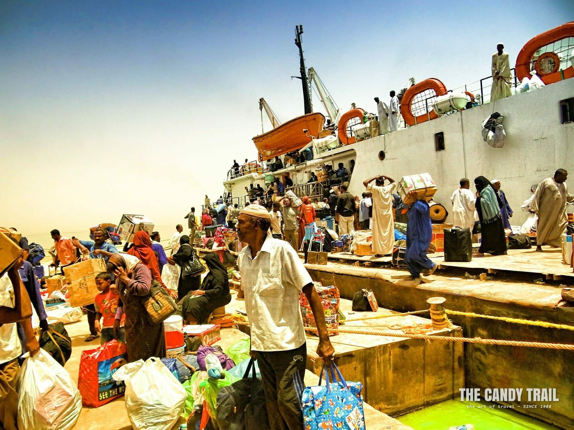 passengers disembarking ship at the port of Wadi Halfa sudan