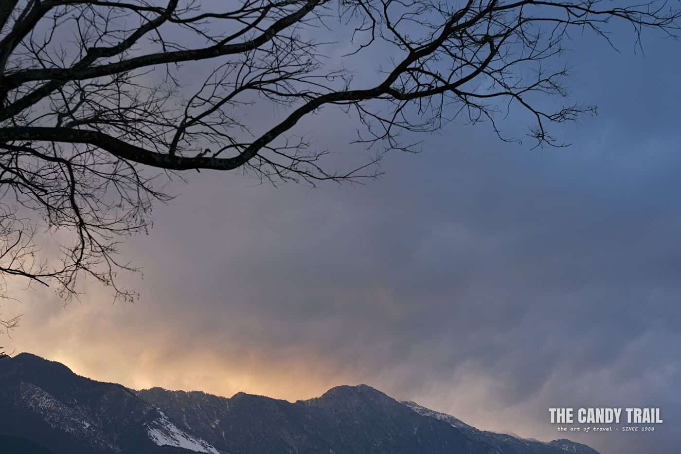 Last light over Cang Mountains behind Dali