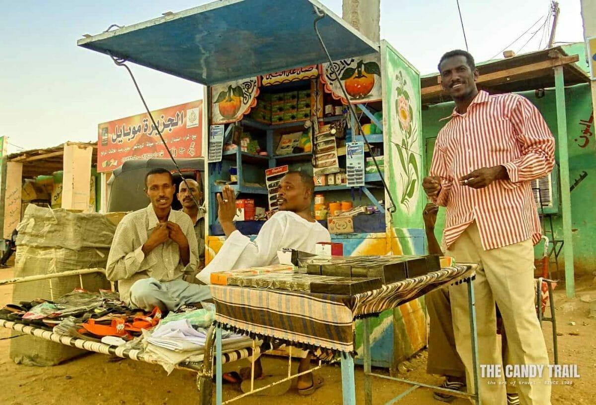 backpacking sudan street stall in wadi halfa