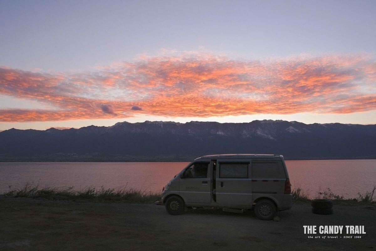 sunset van camping at lake erhai yunnan china