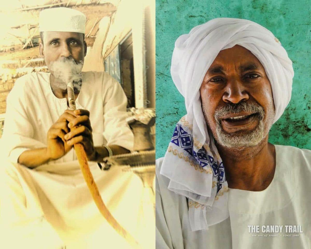 traditionally clothed sudanese men. one smoking shesha pipe sudan