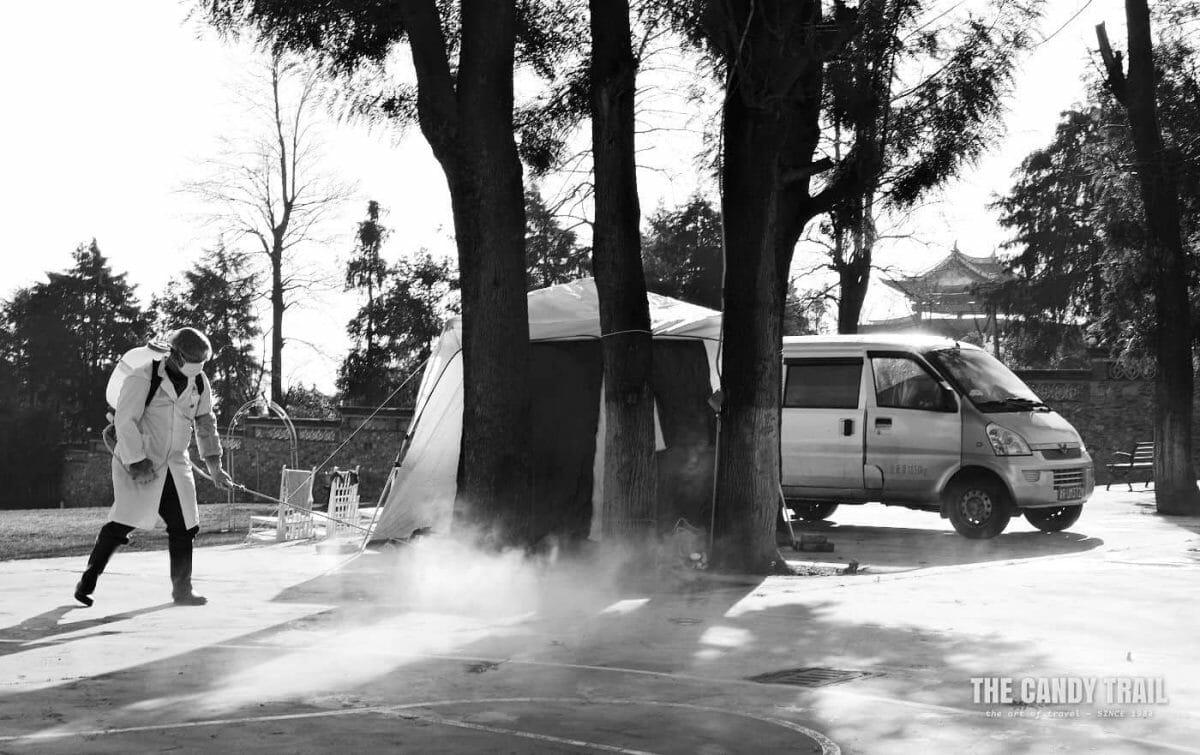 Disinfecting quarantine area during the Coronavirus outbreak in China