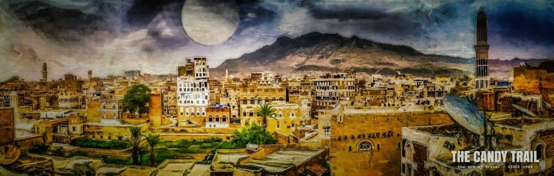 full moon rising sanaa yemen art panorama by Michael Robert Powell