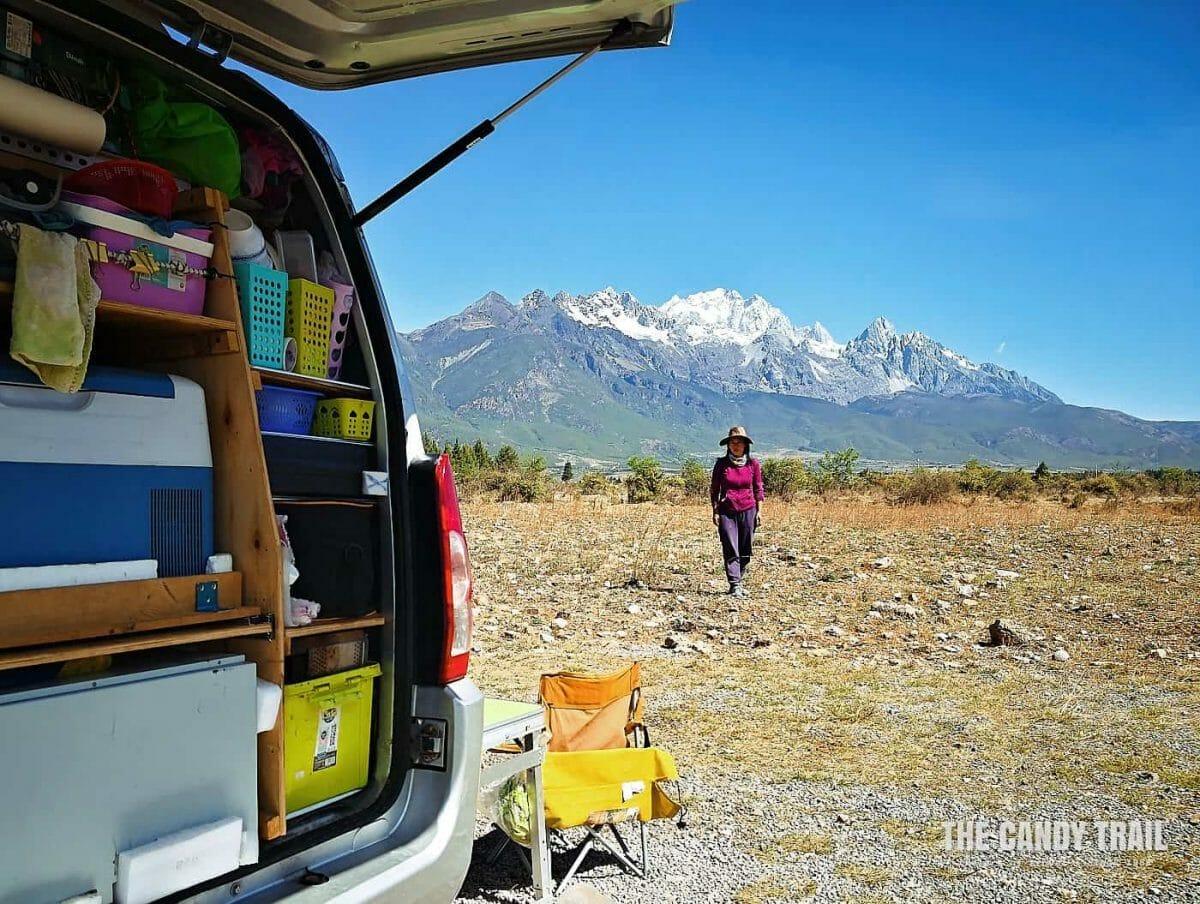 van life in yunnan at jade white dragon mountain near lijiang in china