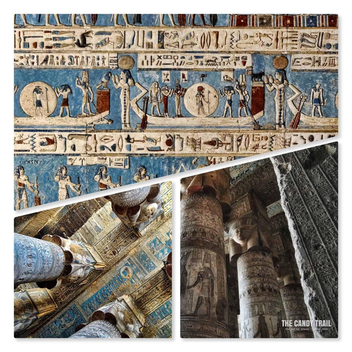 pillars and painted reliefs of hathor temple in dendera egypt