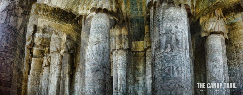 pillars in temple in dendera egypt