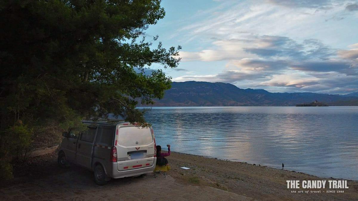 van life at lugu lake traveling mountains of yunnan china