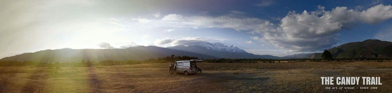 van camping near White Dragon Mountain in Yunnan china