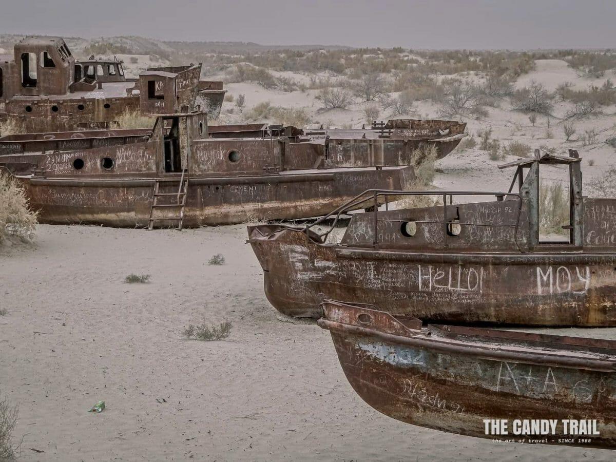 cemetery of ships at aral sea moynaq in uzbekistan