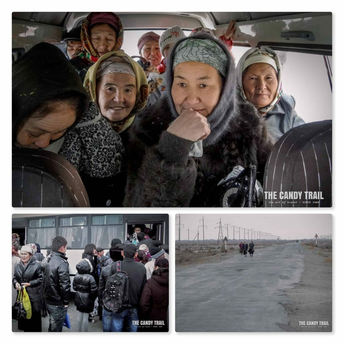 Public transport scenes leaving moynaq in uzbekistan