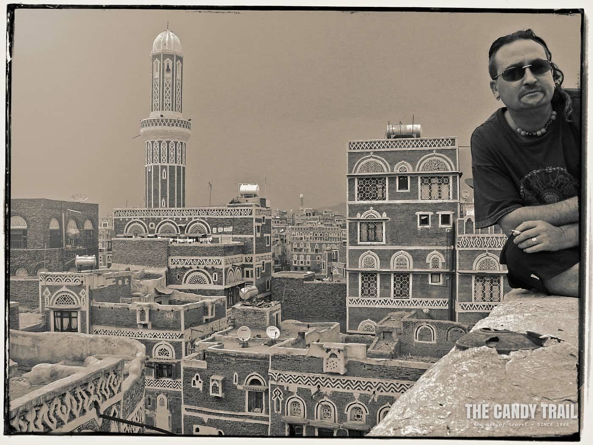 Michael Robert Powell long term traveler in old Sanaa, yemen in 2005.