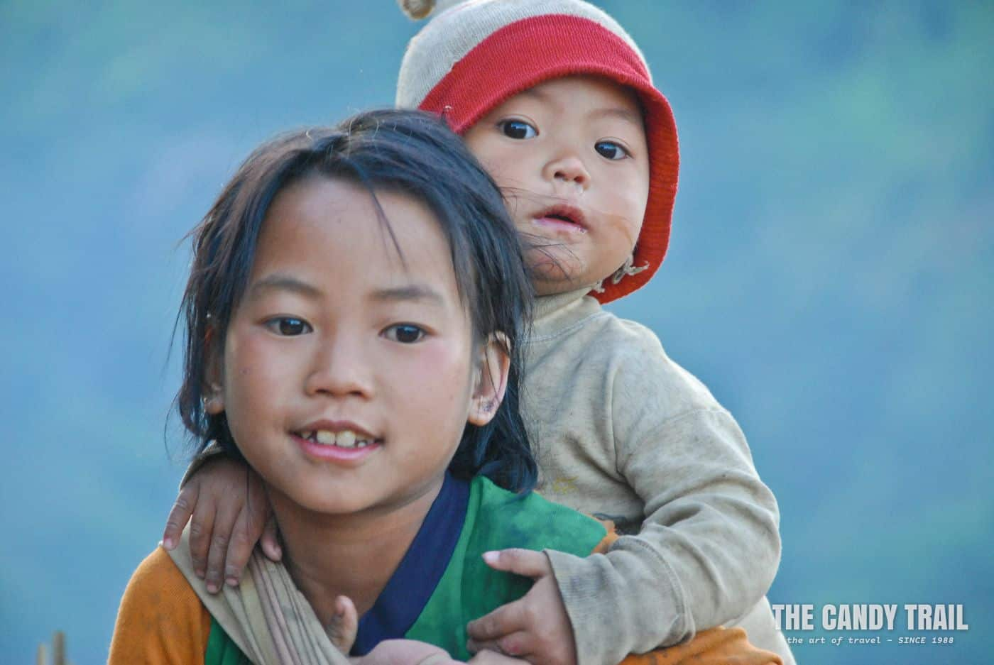 Young Akha kids in remote, northern Laos village