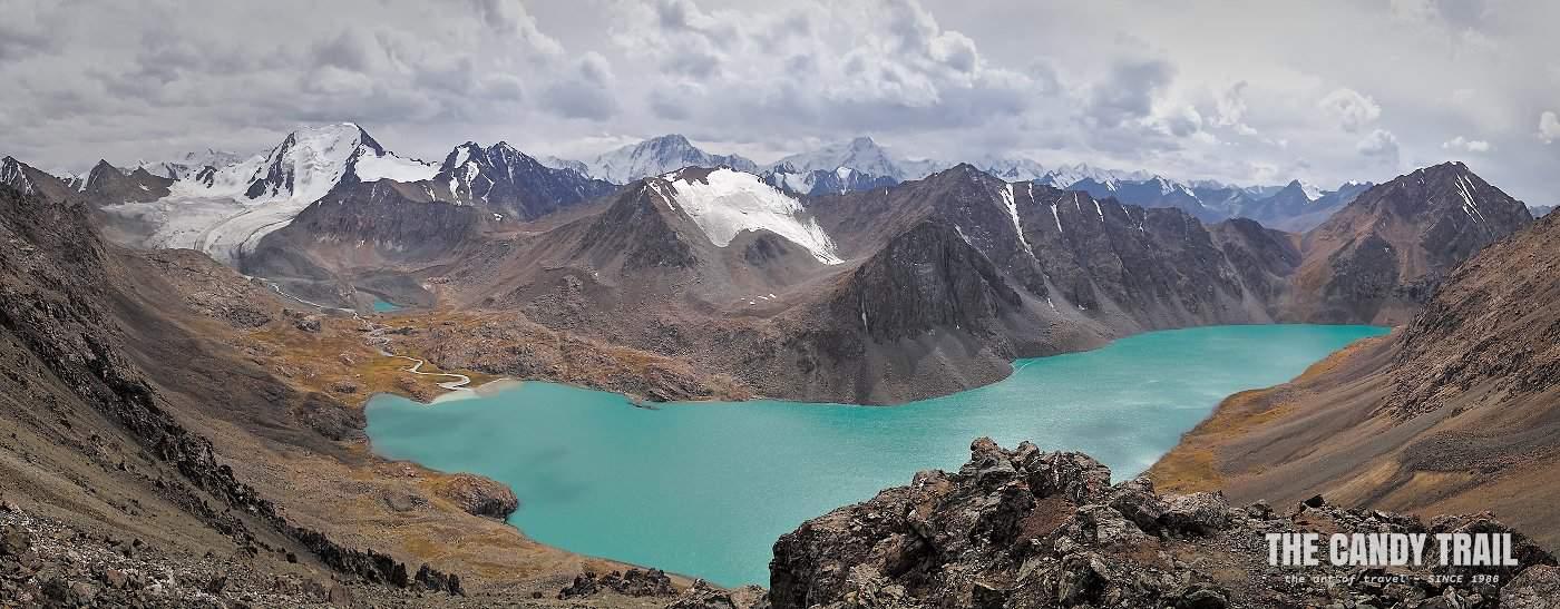 Panorama of Ala Kul lake from the pass