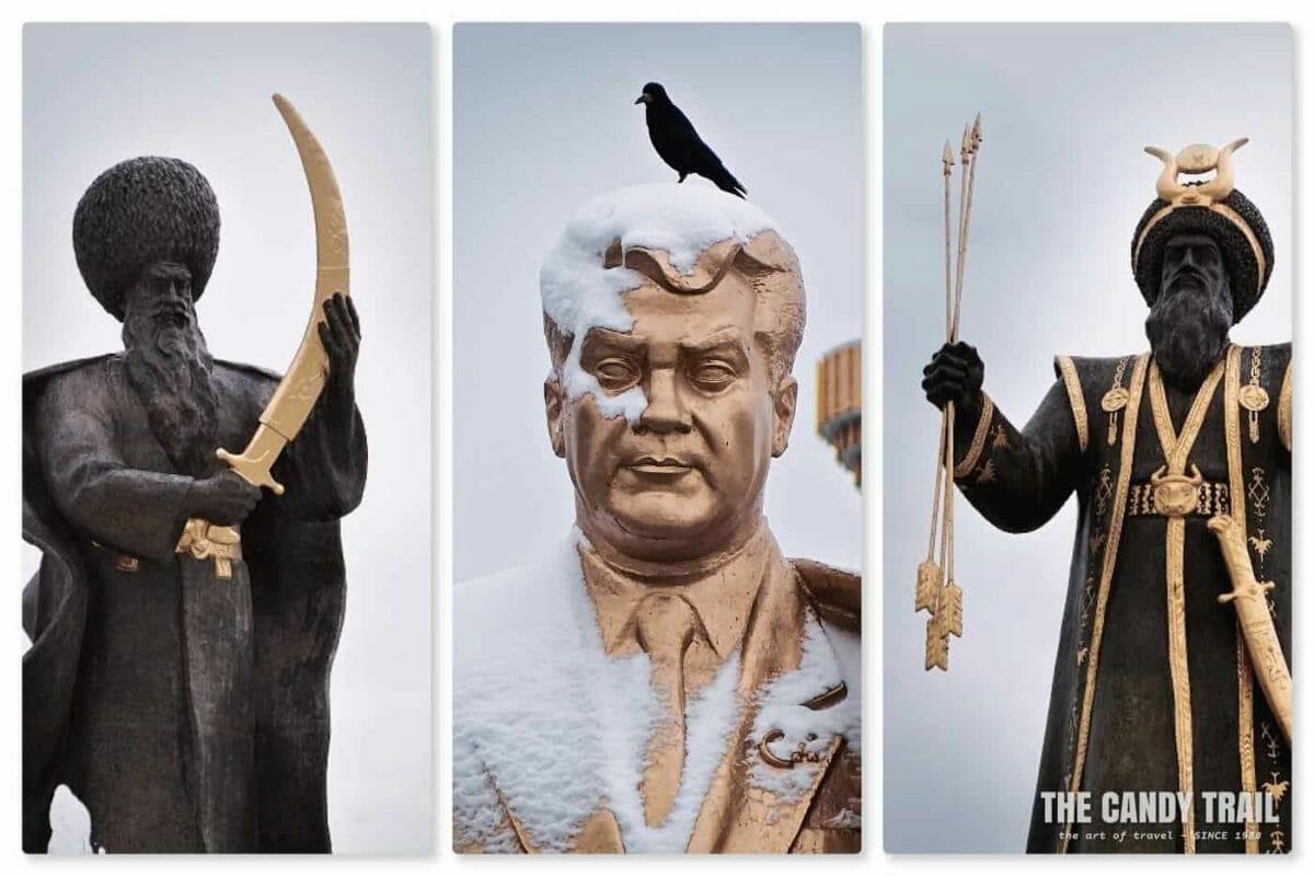 turkmen statues in ashgabat