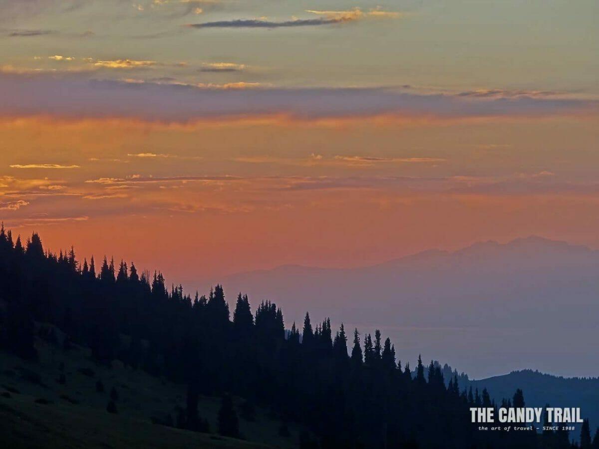 Sunset looking to Lake Issyk Kul