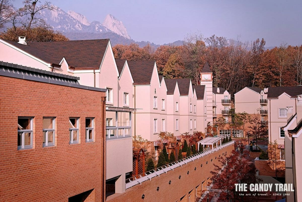 Autumn colors and mountains behind Seoul English Village