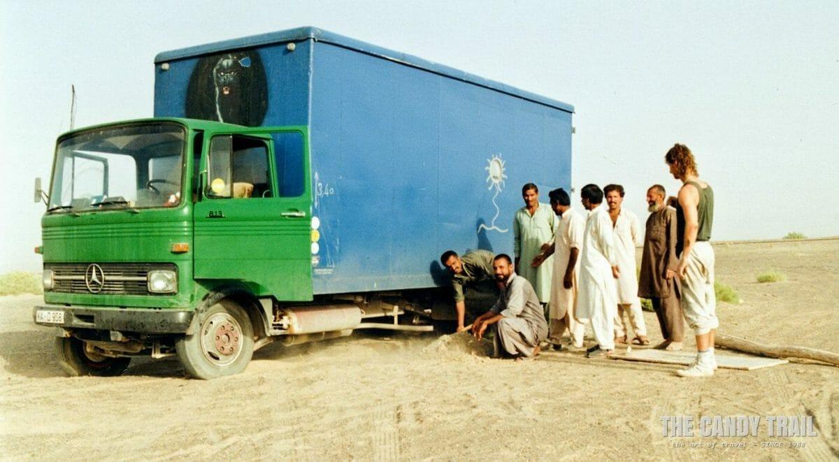 truck stuck in sand baluchistan pakistan 1990